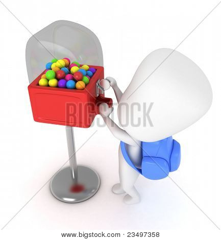 3D Illustration of a Kid Buying Candies