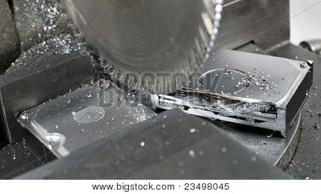 Circular Saw In Close Up, To Abolish A  Hard Disk