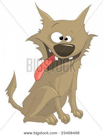 Personagem manhoso cão dos desenhos animados isolado no fundo branco. Vector.