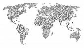 Global Geography Pattern Map Created Of Discount Coupon Pictograms. Vector Discount Coupon Scattered poster