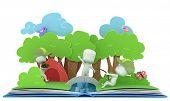 foto of pop up book  - 3D Illustration of Kids Camping on Popup Book - JPG