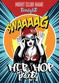 Hip Hop Night Club Poster. Pretty Young Urban Rap Girl poster
