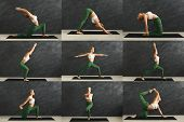 Mosaic Of Different Fitness Exercises. Sporty Blonde Woman Practicing Yoga In Various Poses At Gym.  poster