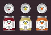 Three Labels Fruit Jam. Cherry, Pear, Orange Jam Labels And Packages. Three Packaging. Premium Desig poster