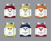 Six Labels Fruit Jam. Labels, Cherry, Pear, Orange, Lemon, Dewberry, Strawberry Jam Labels And Packa poster