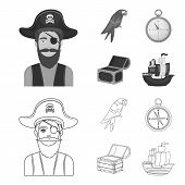 Pirate, Bandit, Hat, Bandage .pirates Set Collection Icons In Outline, Monochrome Style Vector Symbo poster