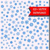 Vector Snowflakes Megaset. 150+ Simple Isolated Snowflakes Illustrations. Monochrome Snow Background poster
