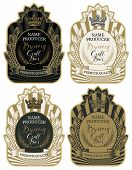 Set Of Labels With Wheat Ears, Crown And Handwritten Inscriptions In Figured Frames. Vector Labels F poster