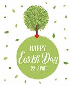 Happy Earth Day. Vector Illustration With The Words, Tree And Green Leaves. Eco Friendly Ecology Con poster