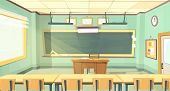 Vector Cartoon Background With Empty Classroom, Interior Inside. Back To College Concept Illustratio poster