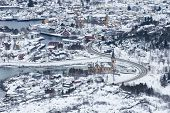 Aerial View Of The Lofoten Cathedral In Kabelvag, Northern Norway In Winter Snow poster