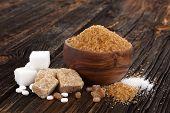 Various Types Of Sugar, Brown Sugar, White Sugar, Crystal Sugar, Artificial Sweetener, Cane Sugar On poster