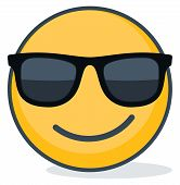 Isolated Emoticon Wearing Black Sunglasses. Isolated Emoticon On White Background poster