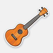 Vector Illustration. Classical Wooden Guitar. String Plucked Musical Instrument. Small Acoustic Guit poster