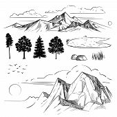 Hand Drawing Mountain Range, Peaks Clouds, Sun And Forest Trees. Retro Mountains And Landscape Eleme poster