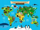World Map Animals. Europe And Asia, South And North America, Australia And Africa And Ocean Animals  poster