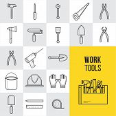 Vector Flat Construction And Tools Outline Icons Set. Collection Of Working Tools And Construction E poster