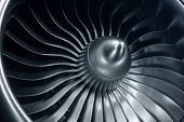 3d Rendering Jet Engine, Close-up View Jet Engine Blades. Blue Tint poster