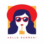 Hello Summer Card, Banner Or Poster Design With Girl In Red Summer Hat And Sunglasses Drinking Cockt poster
