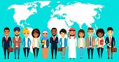 Business Concept. A Large Group Of Businessmen Stands Shoulder To Shoulder. Asian, Latin American, A poster
