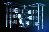 3d Illustration Of An Internal Combustion Engine. Engine Parts, Crankshaft, Pistons, Fuel Supply Sys poster