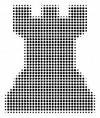 Chess Tower Halftone Vector Pictogram. Illustration Style Is Dotted Iconic Chess Tower Icon Symbol O poster