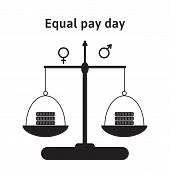 A Vector Illustration For Equal Pay Day In April. The Correction Of Regarding Pay Inequality Between poster