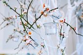 Wedding Decor, White And Green Tree Branch With Blossoming Buds, Flowering Tree Branches With White  poster