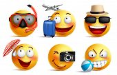 Smileys Vector Set With Summer And Travel Outfits. Smiley Face Emoticons With Facial Expressions And poster
