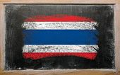 Flag Of Thailand On Blackboard Painted With Chalk