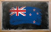 Flag Of New Zealand On Blackboard Painted With Chalk