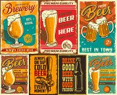 Set Of Beer Poster In Vintage Style With Grunge Textures And Beer Objects. Vector Illustration. poster