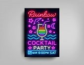 Cocktail Party Poster Vector Template. Rainbow Cocktail Party, Poster Neon, Neon Sign, Light Banner, poster