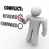 A man presses a button beside the word Resolved to resolve a conflict as opposed to continue it.  Sy