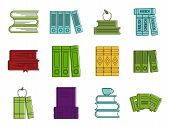 Set Book Icon Set. Color Outline Set Of Set Book Vector Icons For Web Design Isolated On White Backg poster