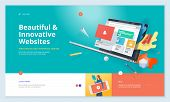 Effective Website Template Design. Modern Flat Design Vector Illustration Concept Of Web Page Design poster