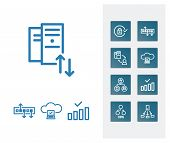 Cloud Computing And Server Technology Icon Line Set With Hub, Hosting And Internet Of Things. Sharin poster