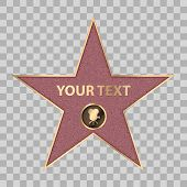 Hollywood Star On Celebrity Fame Of Walk Boukevard. Vector Symbol Star For Iconic Movie Actor Or Fam poster