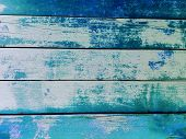 Blue Wooden Fence Background. Close-up Wall Or Floor Wooden Blue Plank Panel Or Board As Background  poster
