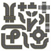 Road Vector Elements. Collection Of Connectable Highway Elements. Top View Vector Elements. Part Of  poster