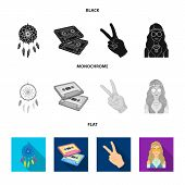 Amulet, Hippie Girl, Freedom Sign, Old Cassette.hippy Set Collection Icons In Black, Flat, Monochrom poster