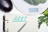 Weigh Products On Electronic Kitchen Scales And Record The Results. The Concept Of Healthy Eating, D poster