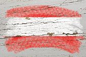 Flag Of Austria On Grunge Wooden Texture Painted With Chalk
