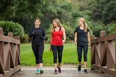 Group of women in their 30s walking together in the outdoors. Cute blond and fit women in their mid  poster