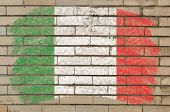 Flag Of Italy On Grunge Brick Wall Painted With Chalk