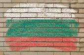 Flag Of Bulgaria On Grunge Brick Wall Painted With Chalk