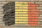 Flag Of Belgium On Grunge Brick Wall Painted With Chalk