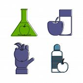 Object And Apple Icon Set. Color Outline Set Of Object And Apple Vector Icons For Web Design Isolate poster