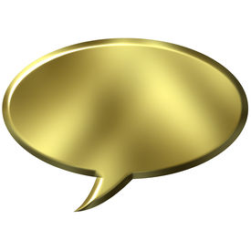 stock photo of text-box  - 3D Golden Speech Bubble that is isolated in white - JPG