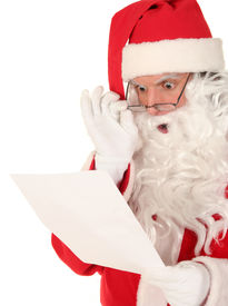 picture of santa claus hat  - Santa reading a letter with a shocked expression - JPG